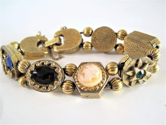 Goldette NY Slide Bracelet, Victorian Revival, Vintage Charms,  Gold Tone Bracelet