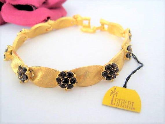 Crown Trifari Bracelet, Red Ribbon Rhinestone, NOS Gold Tone, Original Tag