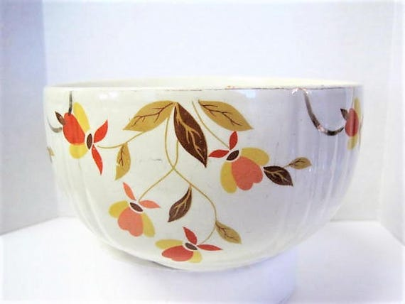 Hall Jewel Tea Small Mixing Bowl,  Autumn Leaf Small Bowl,  3 1/2 Inches Tall,  Mid Century, Collectible Pattern