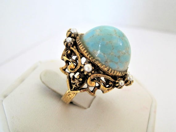 Turquoise Cocktail Ring, Lucite Cabachon, Large Stone, Expandable Size 7