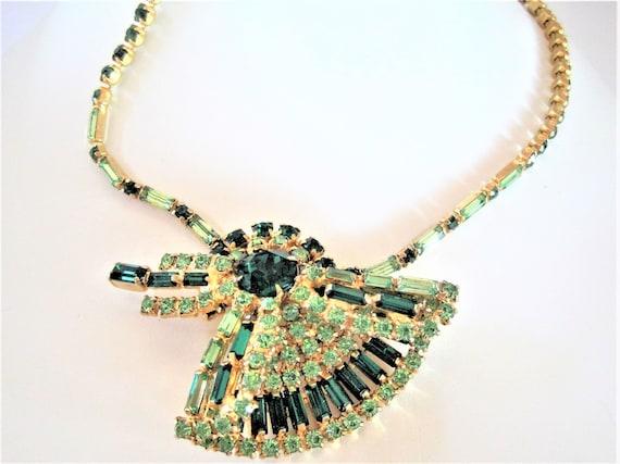 Green Rhinestone Necklace, Two Tone Green, Emerald Shaped Stones, Fan Pendant Necklace