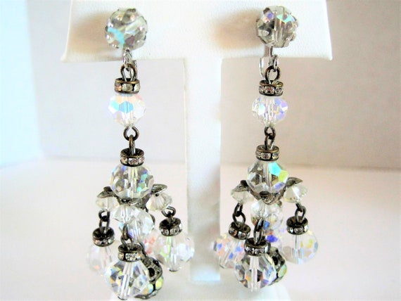 Crystal Dangle Earrings, Faceted Chandelier Dangles,  Elegant Social Occasion Earrings, Mid Century Clip On Crystals