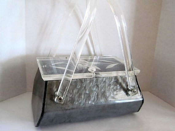 Llewellyn NYC Lucite Purse, Gray Marble Lucite, Clear Deeply Etched Lid,  Party Purse, 50s Purse