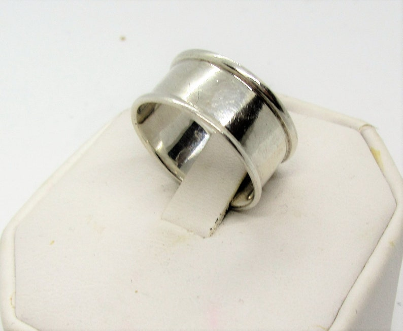 Unisex Ring Wide with Rolled Edges Ring Size 10 Eternity Ring 925 Alan K Vintage Sterling Silver Band