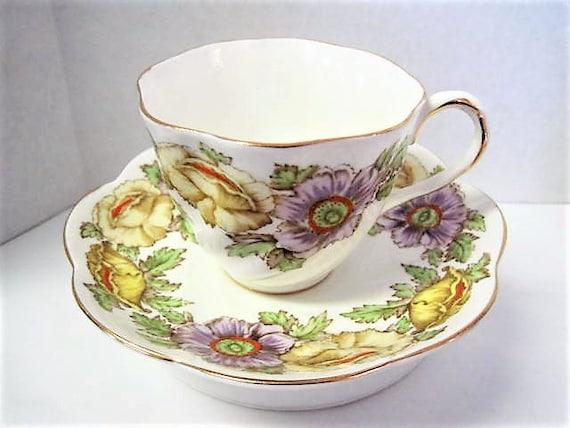Bone China Cup Saucer, Salisbury Iceland Poppy, Fine Bone China England, Vintage Floral