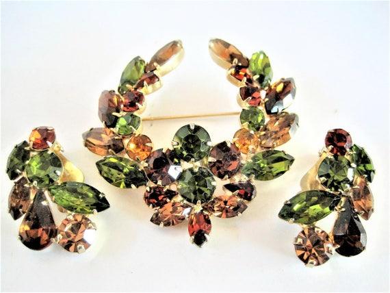 Green Brooch Set, Designer Signed Tara, Peridot Rhinestone, Topaz and Citrine,  Brooch Earrings, 60's  brooch set
