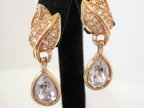 Swarovski Crystal  Earrings,  Pierced Dangles,  Swan Logo, Vintage Earrings