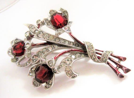 Red Trifari Brooch, Designer Albert Spaney,  Rhodium Setting,  Pat Pend. 40's Rhinestone  Pin