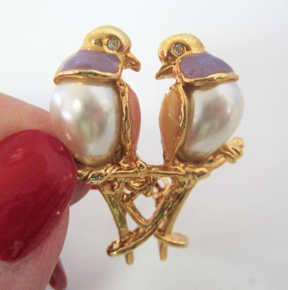 Pearl Lovebirds Brooch, Lavender Enamel Feathers, Lovebirds Pin