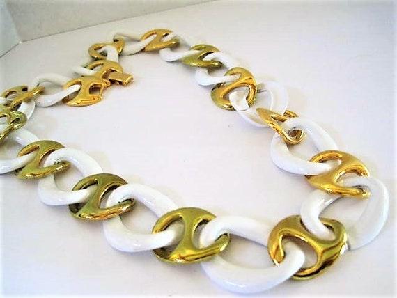Napier Enamel Necklace, Signed Pat. Pend, White Enamel and Gold Tone Links