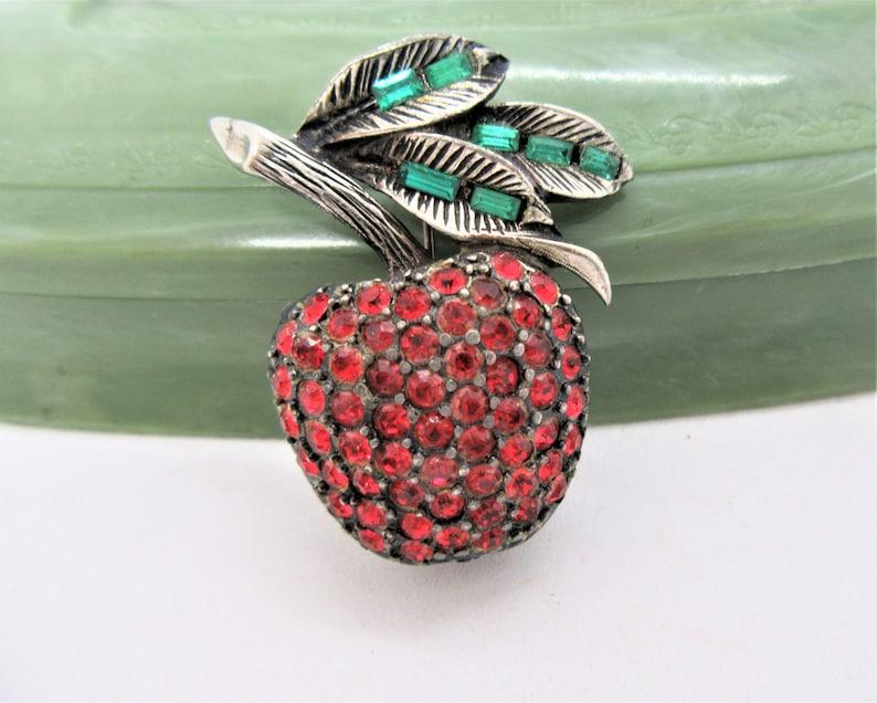 Green Baguette Leaves Red Apple Brooch Teacher Gift Vintage Fruit Pin Rhinestone Signed PELL