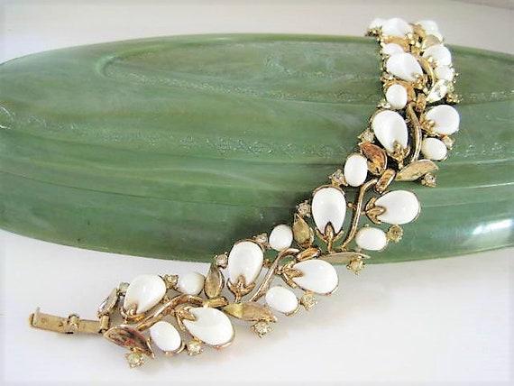 Crown Trifari Bracelet, Pebble Beach Pattern,  White Lucite, Book Piece