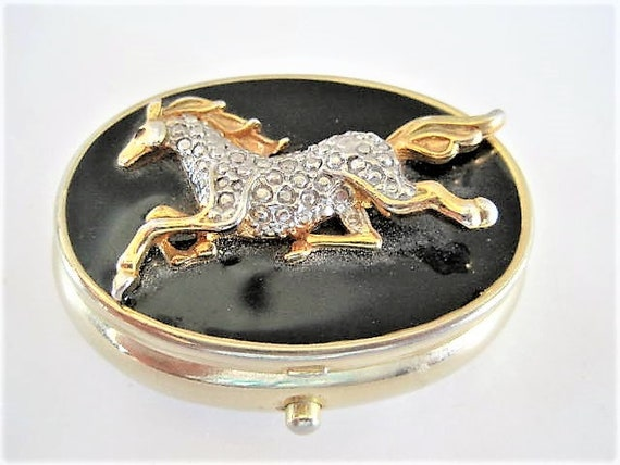 Horse Jeweled Box, Container for Purse,  Pill Trinket Box, Equestrian Embellished
