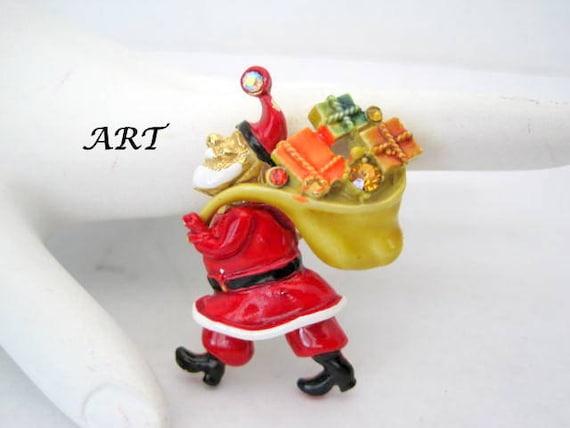 Santa Claus Brooch, Signed ART, Rhinestone Enamel Pin, Vintage Christmas