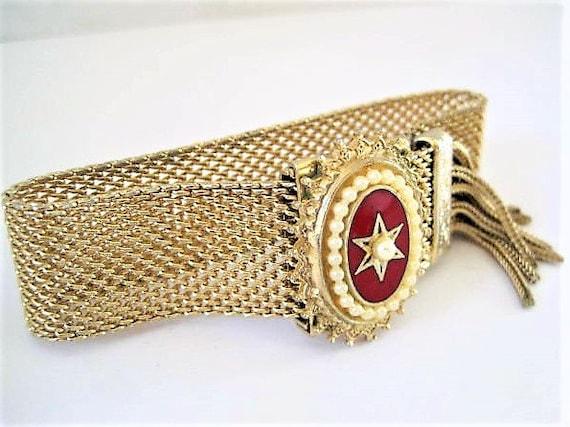 Art Deco Bracelet, Gold Mesh, Red Enamel Pearl Center,  Fringe Slide Adjustable, Fold Over Clasp