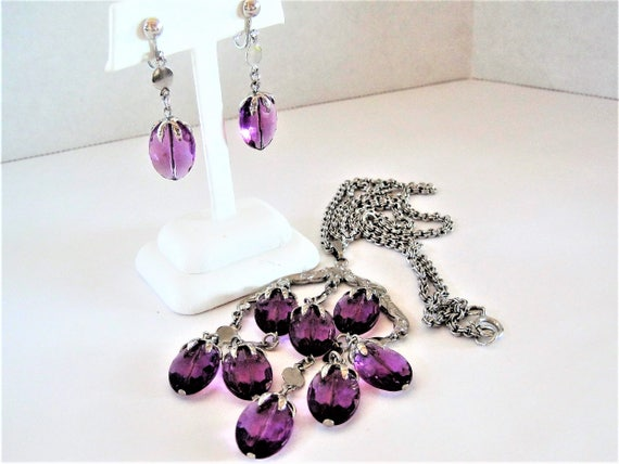 Sarah Coventry Waterfall Necklace Set, Necklace and Earrings, Purple Lucite, Vintage 70's
