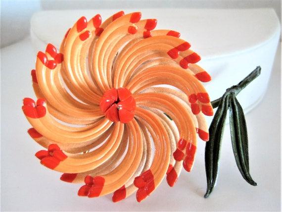Orange 3D Brooch, Enamel Flower, Large Multipetal Pin, 70's Flower Power pin