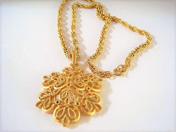 Crown Trifari Necklace, Snowflake Pendant,  Multi loop Chain, Vintage Pendant Necklace