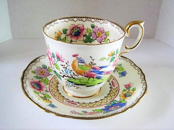Crown Staffordshire Cup and Saucer, Peacock Floral Pattern, #A15322 Footed Cup,  Bone China England