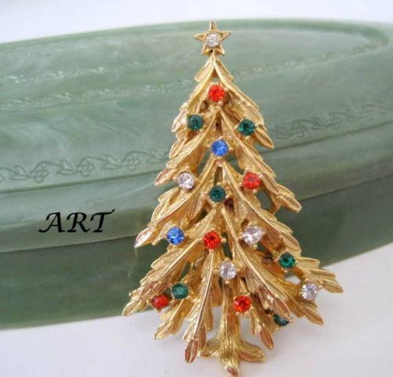 Christmas Tree Brooch, Signed ART, Multicolor Rhinestone, Designer Signed Gift