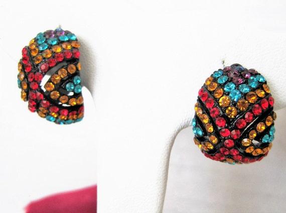 Rhinestone Earrings, Bright Multicolor,  Clip Ons,  70's Bright Earrings