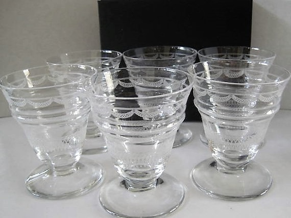 Cordial Etched Glasses, Set of 6, Wine Cocktails, Collectible Barware, Modernist Design