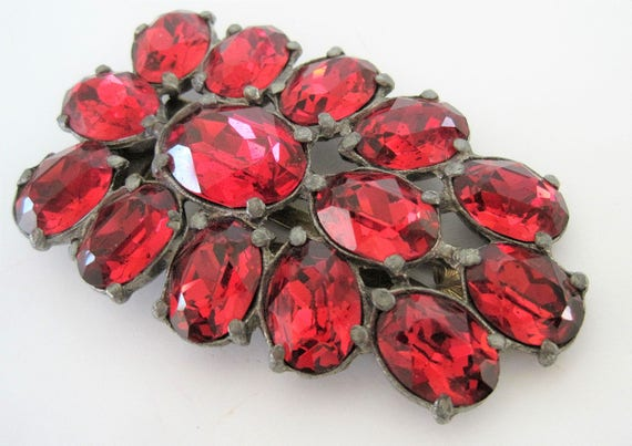 Art Deco Dress Clip, Czech Red Rhinestone, 30's Po