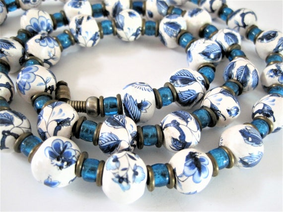 Blue and White Necklace, Porcelain Flowered Beads, Aqua Bead Spacers, Vintage Beads