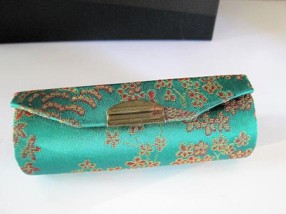 Green Silk  Lipstick Case, Purse Accessory, Red Fabric Inside, Mirror Backed , 80's Purse Accessory