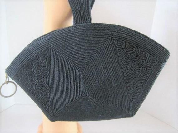 Black Corde Purse, Signed Laurel, Genuine Corde,  Evening Bag, Wrist Purse, Dance Purse