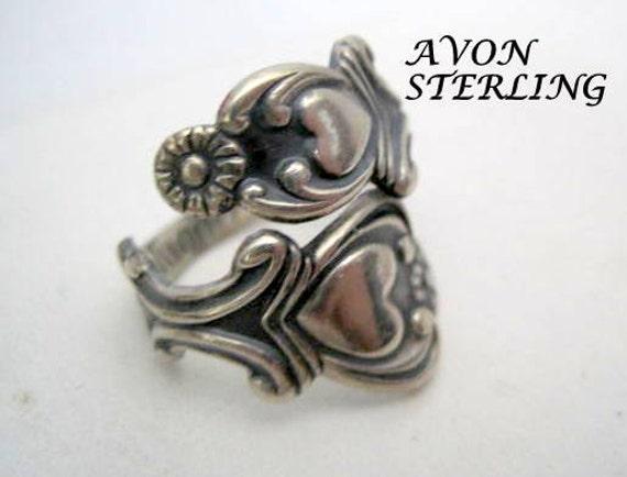 Avon Sterling Spoon Ring, Treasured Heart Pattern, Vintage Ring Sz 6