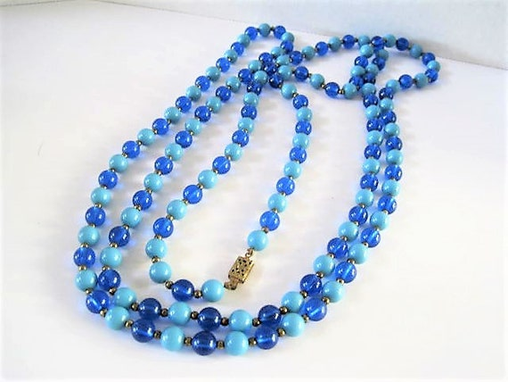 Blue Bead Necklace, Dark and Light  Lucite Beads,  Gold Tone Clasp, 58 Inches in Length,  Vintage Flapper Necklace