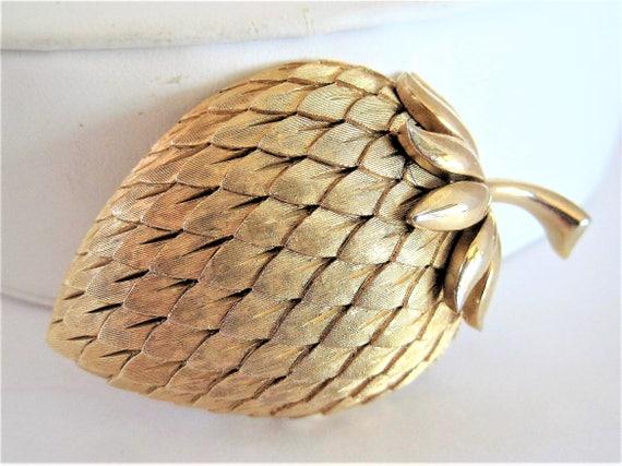 Crown Trifari Brooch,  Strawberry Brushed Gold, Vintage Fruit Leaf Stem Pin