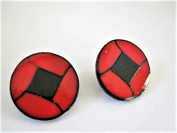 Art Deco Earrings, Red and Black,  Geometric Enamel, Button Style, Fabulous Pierced