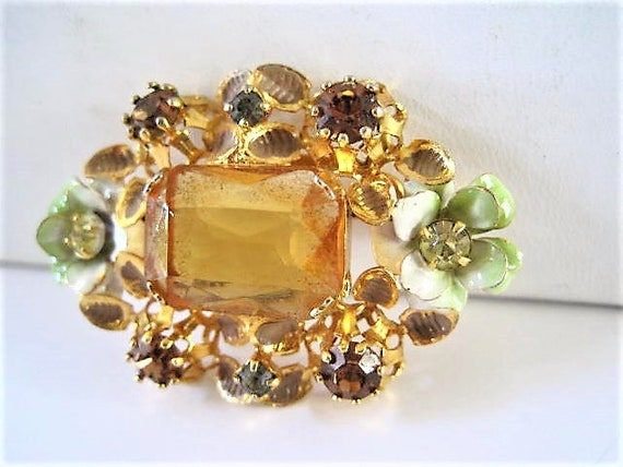 Citrine Faceted Brooch, Pastel Enamel Leaves and Flowers, Rhinestone Highlights,   Signed Austria, Elegant Flower Pin, Vintage Collectible