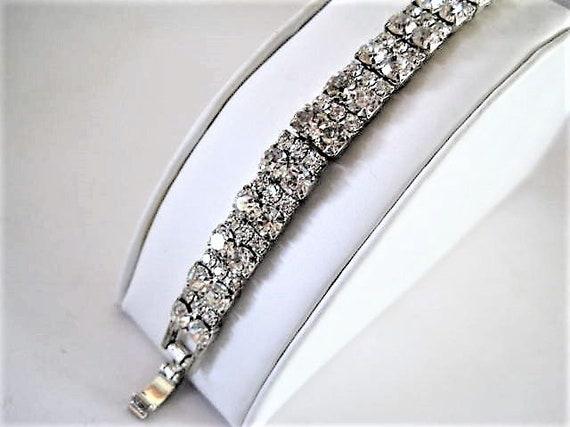 Clear Rhinestone Bracelet, 2 Rows, Prong Setting, Elegant Bracelet, Fold Over Clasp
