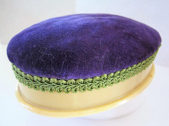 Celluloid Sewing Cushion, Sewing Collectible, Ivory Celluloid, Vintage Pin Cushion, Purple Velvet Top, Hat Pin Cushion