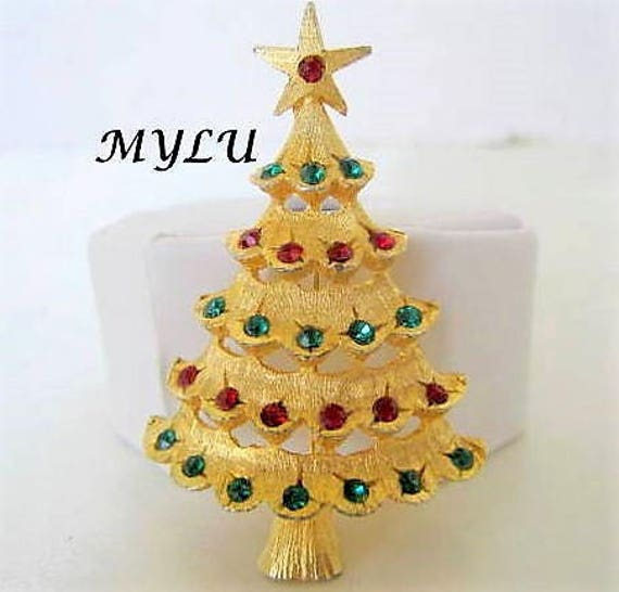 Christmas Tree Brooch,  Mylu Signed, Multicolor Rhinestone Pin