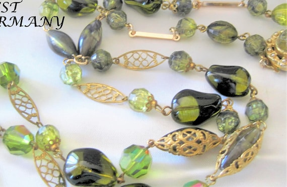 Art Glass Necklace, Flapper Style,  Green Glass Beads, Vintage Single Strand, 30 Inches West Germany,  Green Crystals