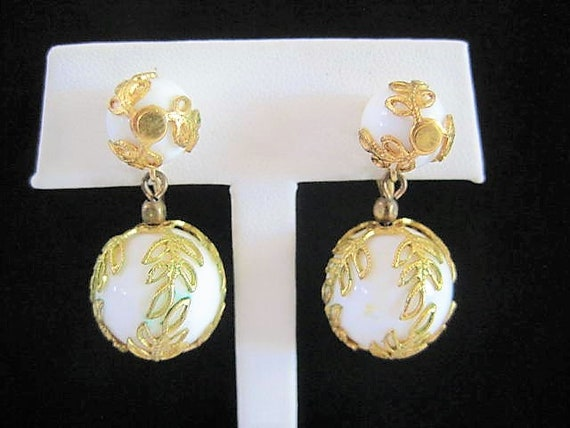 Crown Trifari White Earrings,  Lucite Teardrop, Caged in Gold, Clip On Drops