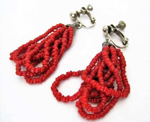 Red Coral Bead Earrings,  Boho Style, Glass Beads 5 Loops,  Clip On Earrings