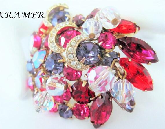 Kramer Red Brooch, Large Rhinestones,  Dangling Crystals, Purple Rhinestones - no copyright - RARE