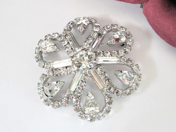 Clear Rhinestone Brooch, Multi Layered Brooch,  Large Silver Tone, Flower Pin
