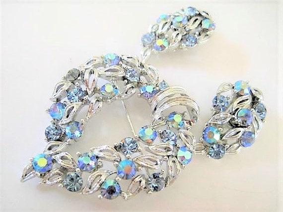 Lisner Signed Brooch Set, Blue Rhinestone Heart, Blue Earrings, Rhinestone Jewelry Brooch
