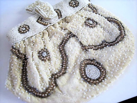 Destash White Purse, Project Piece, Art Deco,  Beaded Signed Made in Belgium, Missing Beads