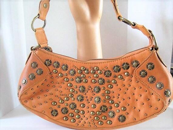 Tan Leather Purse, Brass Riveted, Labeled Wilsons, Original Tag, Vintage Handbag