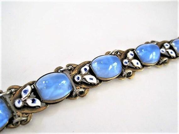 Czech Art Glass Bracelet, Blue Glass, Neiger Bros, Enamel Art Deco Links