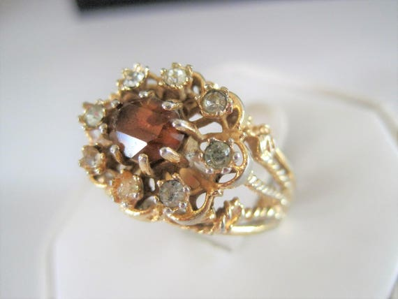 Cocktail Rhinestone Ring,  Multistone Gold Tone, Cocktail Ring Size 10