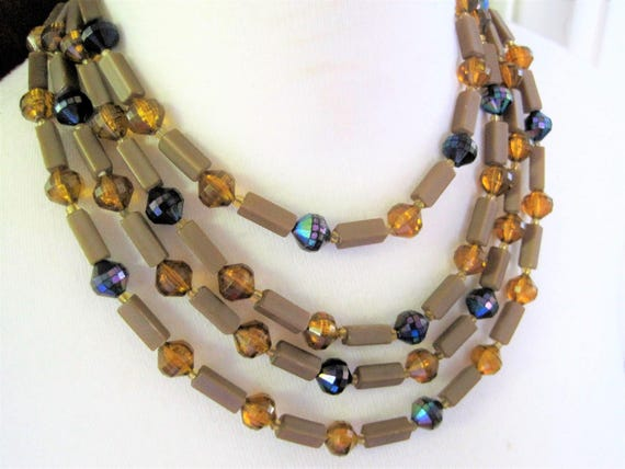 Vintage Topaz Lucite, 4 Strand Necklace, Signed West Germany, AB Beads, Mid Century Tan Choker - Bib Necklace