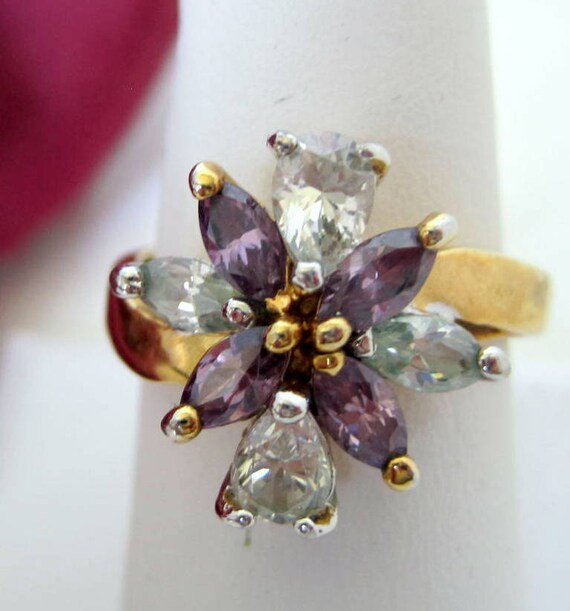 Amethyst Ring, Clear Rhinestone,  14K Gold Filled, Size 9, Cocktail Ring